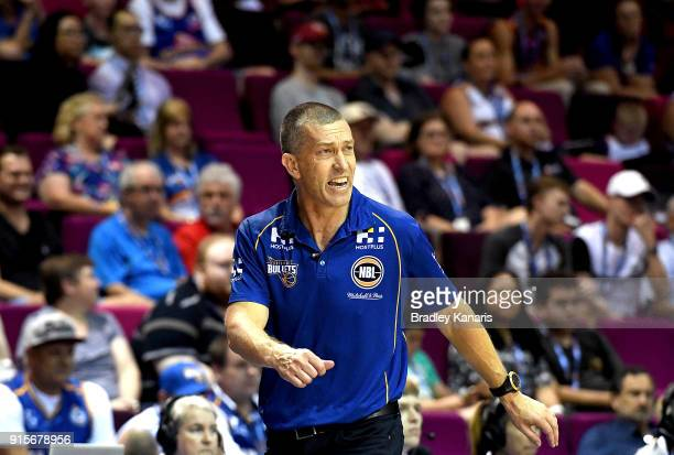 Coach Andrej Lemanis of the Bullets encourages his players during the round 18 NBL match between the Brisbane Bullets and the Illawarra Hawks at...