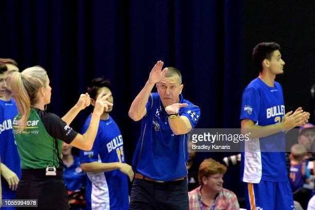 Coach Andrej Lemanis of the Bullets reacts to the referees decision during the round four NBL match between the Brisbane Bullets and the Adelaide...