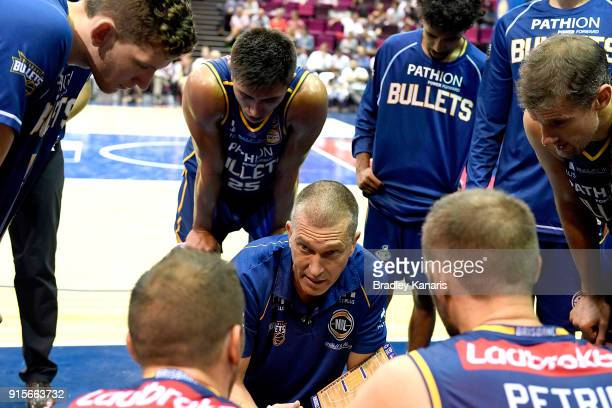 Coach Andrej Lemanis of the Bullets talks tactics at the time out during the round 18 NBL match between the Brisbane Bullets and the Illawarra Hawks...