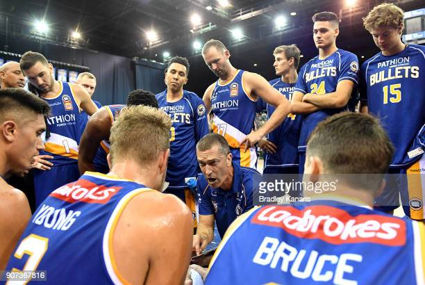 Coach Andrej Lemanis of the Bullets talks tacttics during a timeout at the round 15 NBL match between the Brisbane Bullets and Melbourne United at...