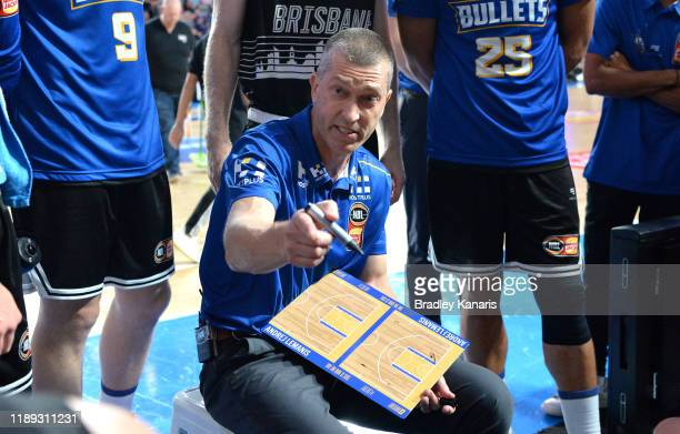 Coach Andrej Lemanis of the Bullets talks to his player at the time out during the round 8 NBL match between the Brisbane Bullets and Adelaide 36ers...