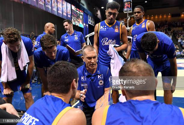 Coach Andrej Lemanis of the Bullets talks to his players at the timeout during the round 18 NBL match between the Brisbane Bullets and the New...