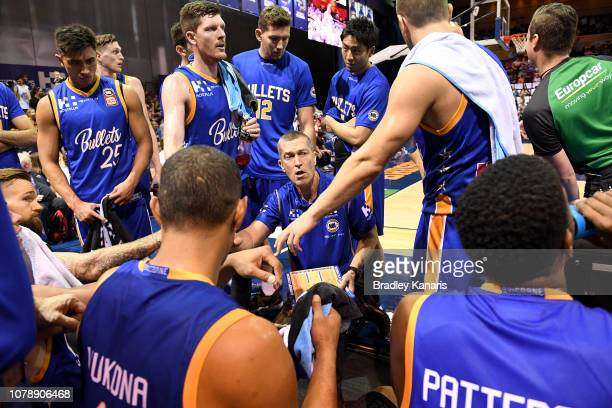 Coach Andrej Lemanis of the Bullets talks to his players at the time out during the round eight NBL match between the Brisbane Bullets and Melbourne...