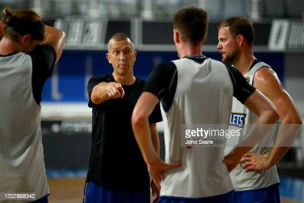 Coach Andrej Lemanis talks to his team during a Brisbane Bullets NBL training session at NISSAN Arena on January 30, 2020 in Brisbane, Australia.