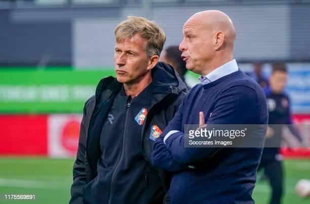 Coach Andries Jonker of Telstar, coach Klaas Wels of TOP Oss during the Dutch Keuken Kampioen Divisie match between TOP Oss v Telstar at the Frans...