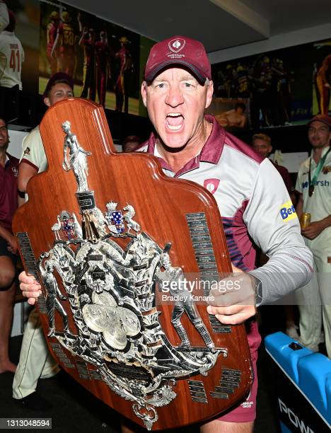 Coach Andy Bichel of Queensland celebrates victory after day four of the Sheffield Shield Final match between Queensland and New South Wales at Allan...