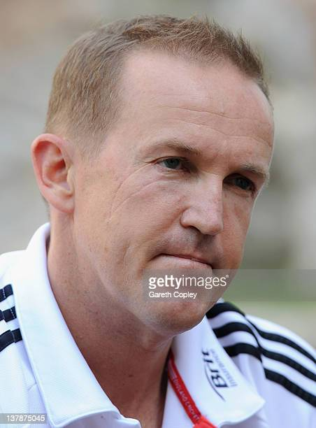 Coach Andy Flower of England attends a press conference at the team hotel on January 29 2012 in Abu Dhabi United Arab Emirates