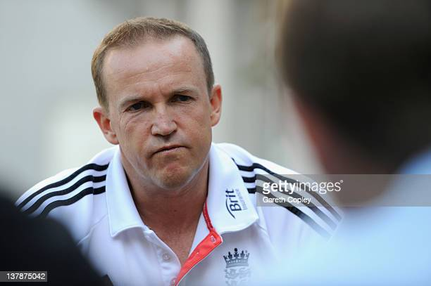 Coach Andy Flower of England speaks during a press conference at the team hotel on January 29 2012 in Abu Dhabi United Arab Emirates