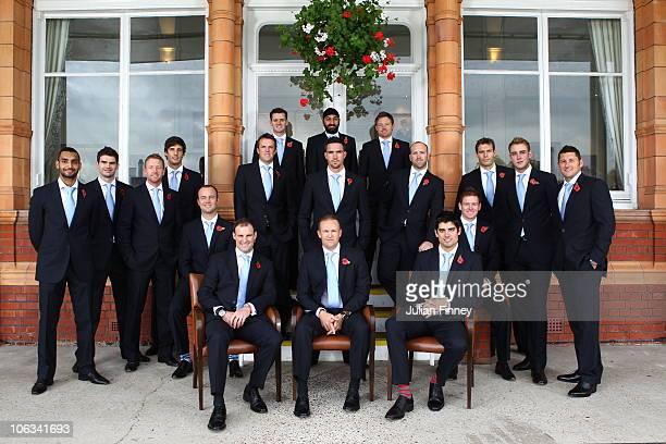 Coach Andy Flower poses with Ajmal Shahzad, James Anderson, Paul Collingwood, Steven Finn, Jonathan Trott, Andrew Strauss, Graeme Swann, Steven...