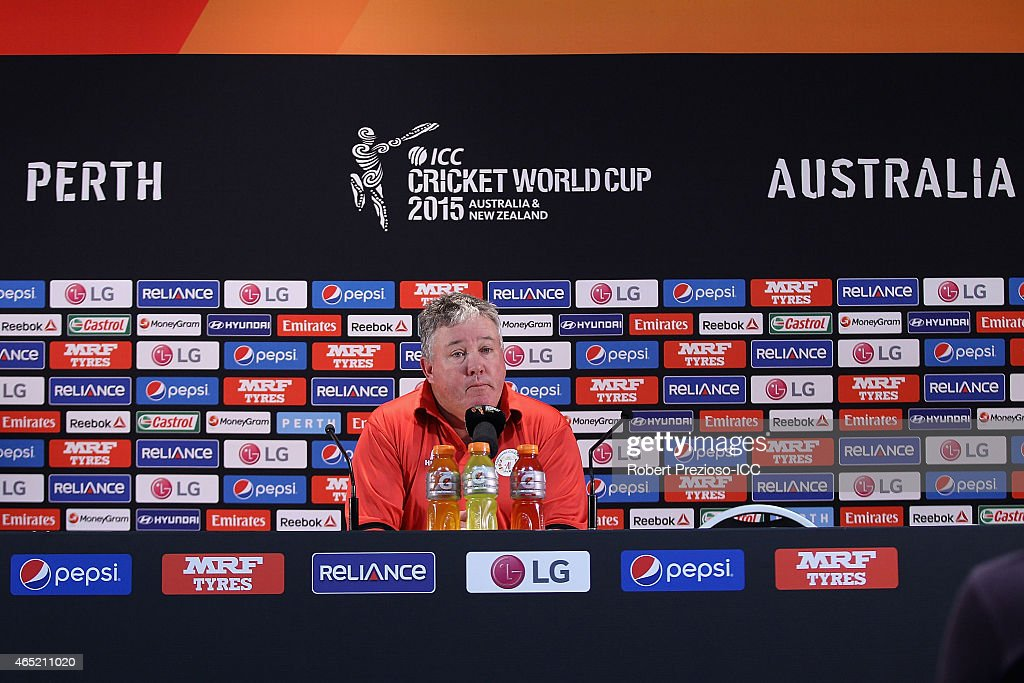 Coach Andy Moles of Afghanistan speaks to media during the 2015 ICC Cricket World match between Australia and Afghanistan at WACA on March 4, 2015 in Perth, Australia.