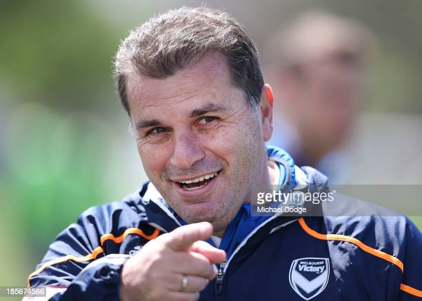 Coach Ange Postecoglou reacts during a Melbourne Victory A-League training session at Gosch's Paddock on October 24, 2013 coach in Melbourne,...