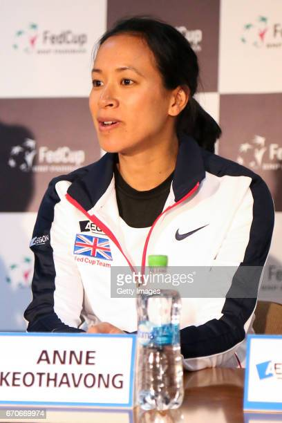 Coach Anne Keothavong looks on during a Great Britain Fed Cup training session at Tenis Club IDU on April 20 2017 in Constanta Romania