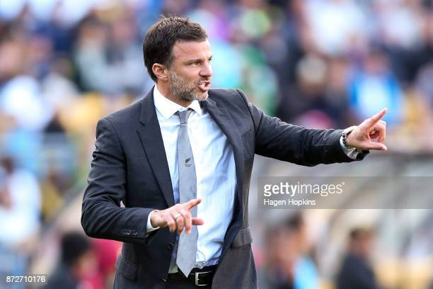 Coach Anthony Hudson of New Zealand talks to his players during the 2018 FIFA World Cup Qualifier match between the New Zealand All Whites and Peru...