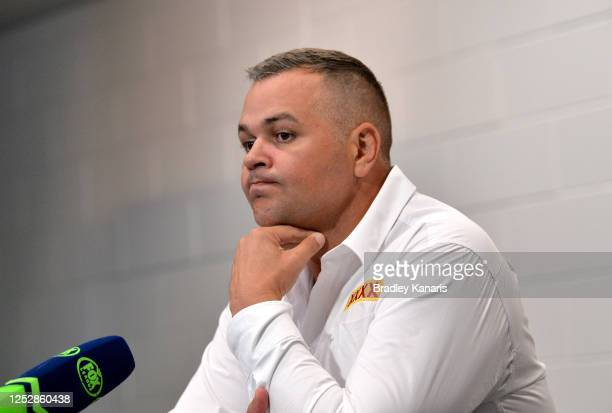 Coach Anthony Seibold of the Broncos looks dejected as he speaks at a coaches press conference after his team lost the round seven NRL match between...