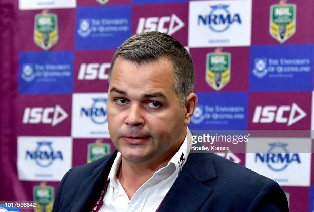 Coach Anthony Siebold of the Rabbitohs talks at a post match press conference after the round 23 NRL match between the Brisbane Broncos and the South...