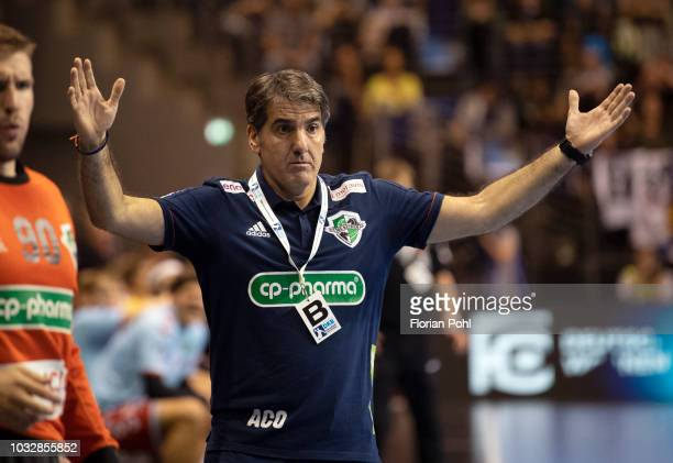 Coach Antonio Carlos Ortega of TSV Hannover Burgdorf gestures during the game between Fuechse Berlin and TSV HannoverBurgdorf at the...