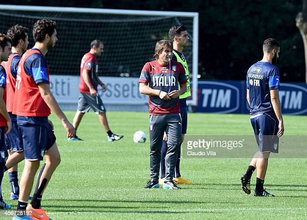Coach Antonio Conte during Italy Training Session at Coverciano on October 6 2014 in Florence Italy