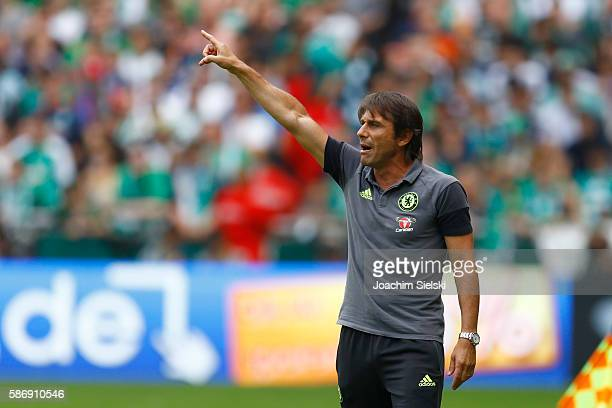 Coach Antonio Conte of Chelsea during the preseason friendly match between Werder Bremen and FC Chelsea at Weserstadion on August 7 2016 in Bremen...