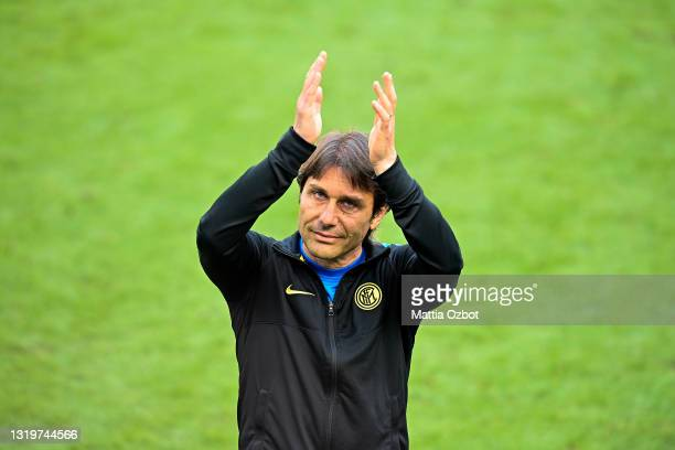 Coach Antonio Conte of FC Internazionale during the Serie A match between FC Internazionale Milano and Udinese Calcio at Stadio Giuseppe Meazza on...