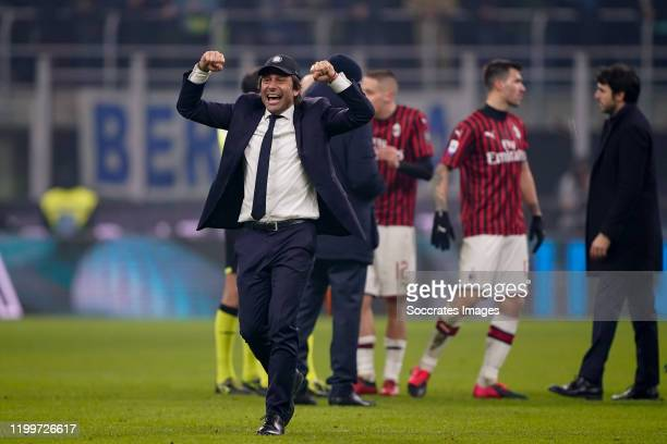 Coach Antonio Conte of FC Internazionale Milano celebrates the victory during the Italian Serie A match between Internazionale v AC Milan at the San...