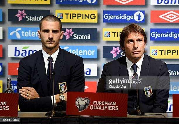 Coach Antonio Conte of Italy and Leonardo Bonucci during the press conference at Ullevaal Stadion on September 8, 2014 in Oslo, Norway.