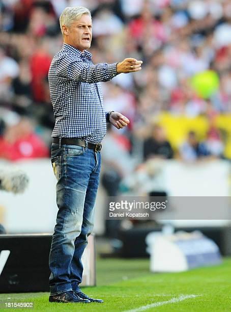 Coach Armin Veh of Frankfurt reacts during the Bundesliga match between VfB Stuttgart and Eintracht Frankfurt at Mercedes-Benz Arena on September 22,...