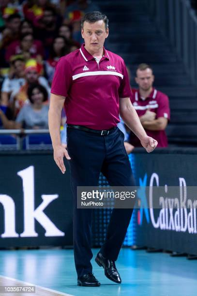 Coach Arnis Vecvagars of Latvia during the FIBA Basketball World Cup Qualifier match Spain against Latvia at Wizink Center in Madrid Spain September...