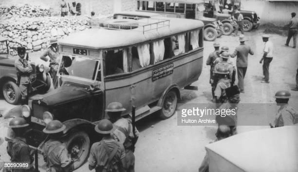 Coach arrives in Hebron from Jerusalem to salvage possessions from Jewish houses after a disturbance, circa 1930. 67 Jews were killed in the 1929...