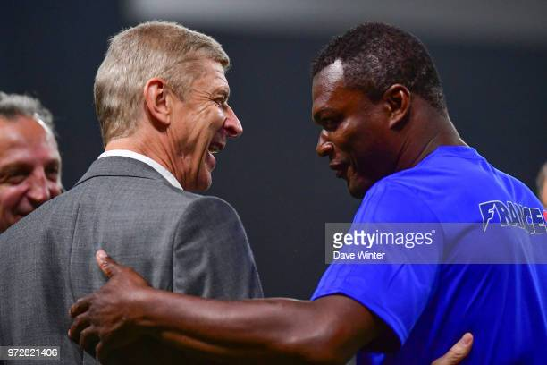 FIFA98 coach Arsene Wenger and Marcel Desailly of France before the Legends Game match between France 98 and Fifa 98 at U Arena on June 12 2018 in...