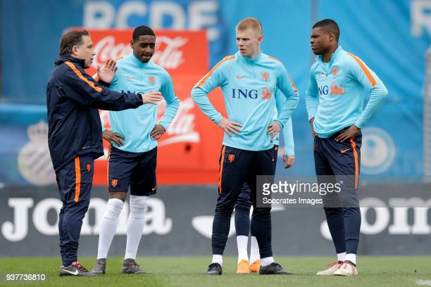 coach Art Langeler of Holland U21 Pablo Rosario of Holland U21 Rick van Drongelen of Holland U21 Denzel Dumfries of Holland U21 during the Training...