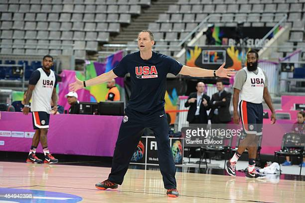 Coach Arturas Karnisovas of the USA Basketball Men's National Team during practice at Palau Sant Jordi on September 8 2014 in Barcelona Spain NOTE TO...