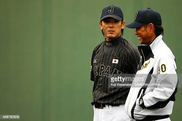 Coach Atsunori Inaba of Samurai Japan in action during a training session at Kyocera Dome Osaka on November 11 2014 in Osaka Japan