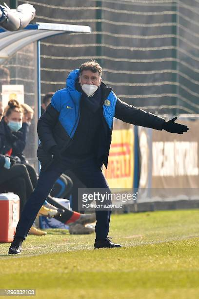 Coach Attilio Sorbi of FC Internazionale during the Women Serie A match between FC Internazionale and Juventus at Suning Youth Development Centre in...