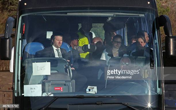 Coach believed to be carry relatives of the Germans who died on the crashed Germanwings flight arrives in Seyne on March 26, 2015 in France....