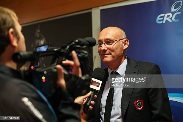 Coach Bernard Laporte of RC Toulon speaks to the media after the Heineken Cup Launch press conference at France Television HQ on September 24 2012 in...