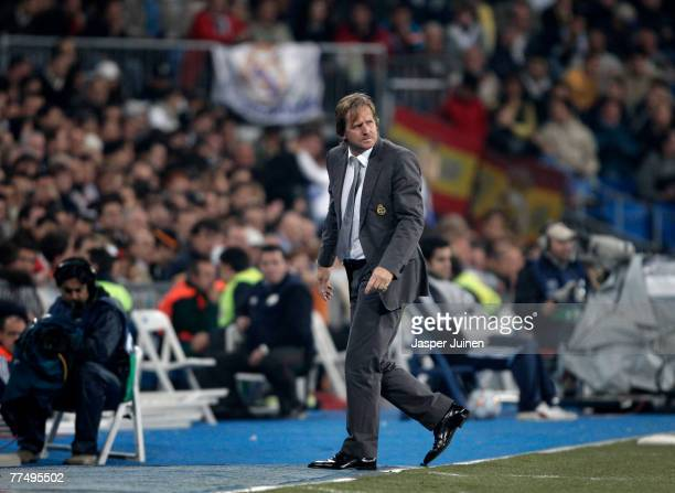 Coach Bernd Schuster of Real Madrid during the UEFA Champions League Group C match between Real Madrid and Olympiakos at the Santiago Bernabeu...