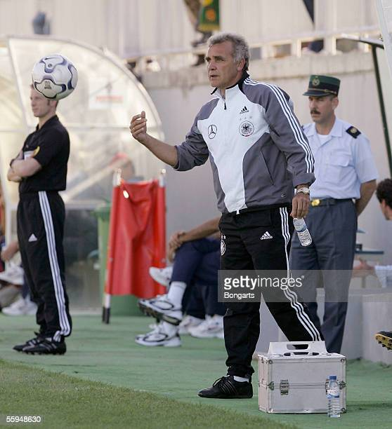 Coach Bernd Stober of Germany gives advise to his players during the mens U17 European Championship qualifying match between Germany and Portugal on...