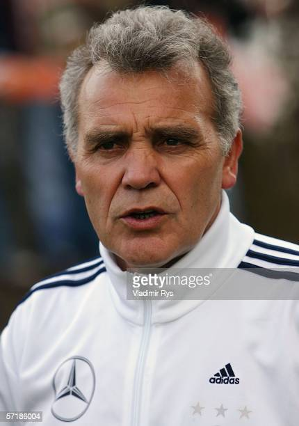 Coach Bernd Stoeber of Germany looks on prior to the Men's Under 17 European Championship qualifier match between Germany and Netherlands on March 26...