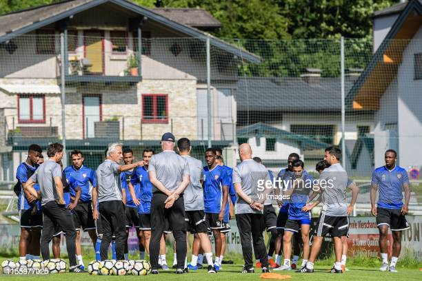 coach Bert van Marwijk of United Arab Emirates give instructions at the start of the training during a training session of United Arab Emirates on...