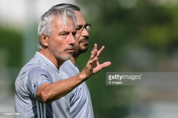 coach Bert van Marwijk of United Arab Emirates with his interpretor during a training session of United Arab Emirates on July 16 2019 in Pfarrwerfen...