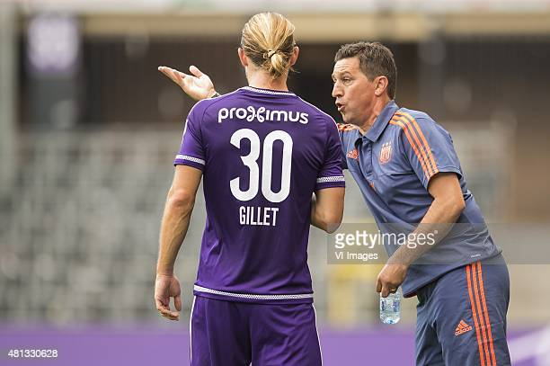 coach Besnik Hasi of RSC Anderlecht give instructions to Guillaume Gillet of RSC Anderlecht during the preseason friendly match between RSC...