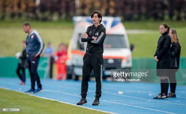 Coach Bettina Wiegmann of Germany reacts during the Under 15 girl's international friendly match between Germany and the Czech Republic at Stadion am...