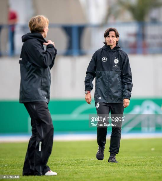 Coach Bettina Wiegmann of Germany reacts prior the Under 15 girl's international friendly match between Germany and the Czech Republic at Stadion am...