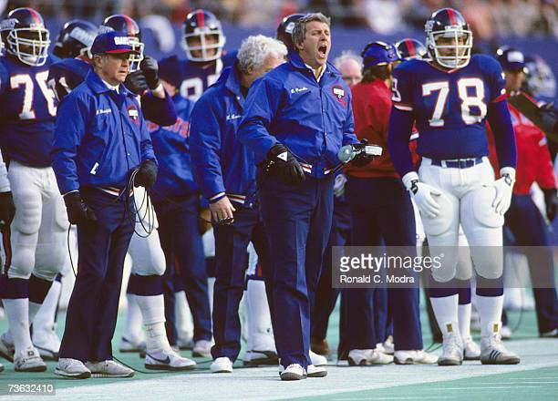 Coach Bill Parcells of the New York Giants on the sidelines during the NFC Wildcard game against the San Francisco 49ers on December 29 1985 in East...