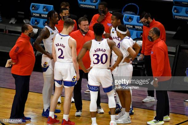 Coach Bill Self gives direction to his team against the Eastern Washington Eagles in the first round of the 2021 NCAA Division I Mens Basketball...