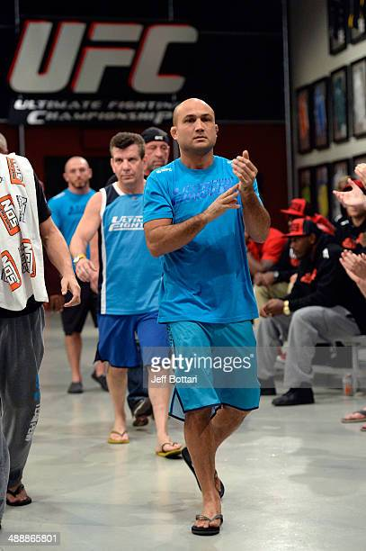 Coach BJ Penn entered the gym before his fighter Tim Williams face team Edgar fighter Dhiego Lima in their preliminary fight during filming of season...