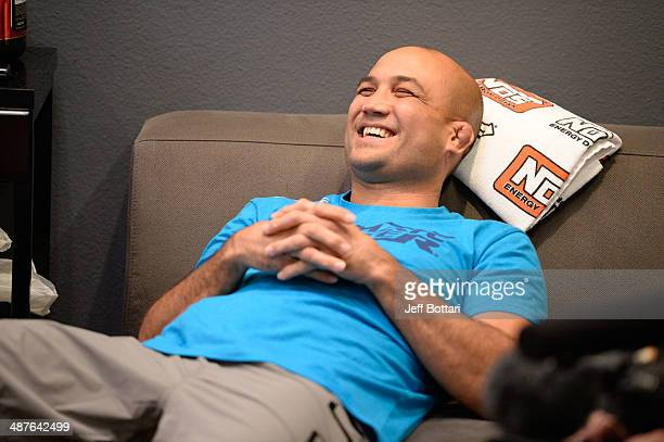 Coach BJ Penn sits in the locker room before his fighter Daniel Spohn faces Team Edgar fighter Todd Monaghan in their preliminary fight during...