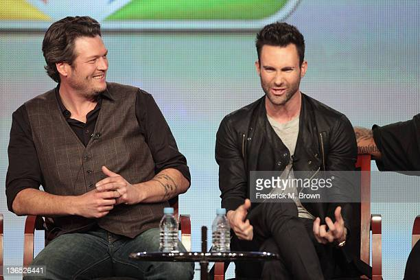 Coach Blake Shelton and Coach Adam Levine speak onstage during the The Voice panel during the NBCUniversal portion of the 2012 Winter TCA Tour at The...