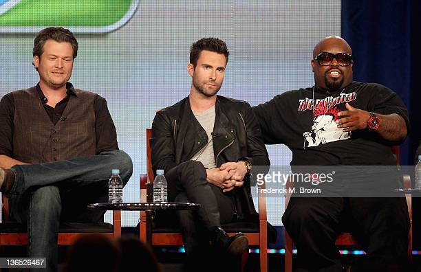 Coach Blake Shelton Coach Adam Levine and Coach Cee Lo Green speak onstage during the The Voice panel during the NBCUniversal portion of the 2012...