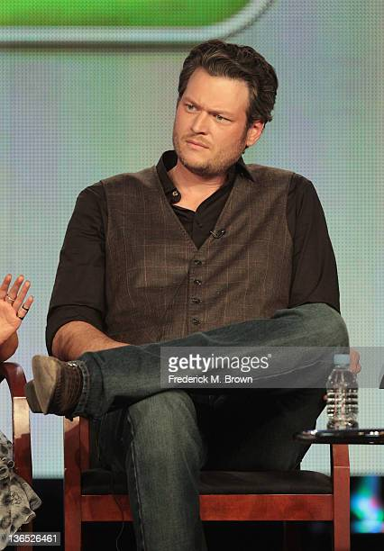 Coach Blake Shelton speaks onstage during the The Voice panel during the NBCUniversal portion of the 2012 Winter TCA Tour at The Langham Huntington...
